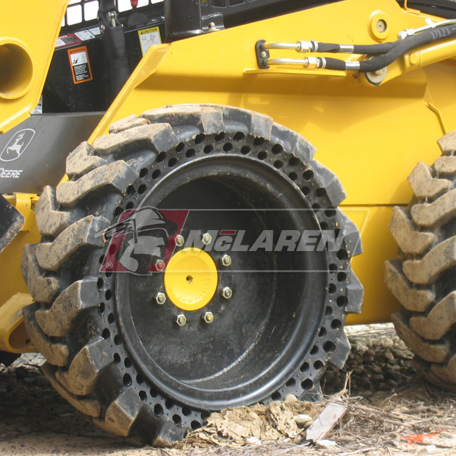 Maximizer Solid Tires with Flat Proof Cushion Technology with Rim for Caterpillar 216 B