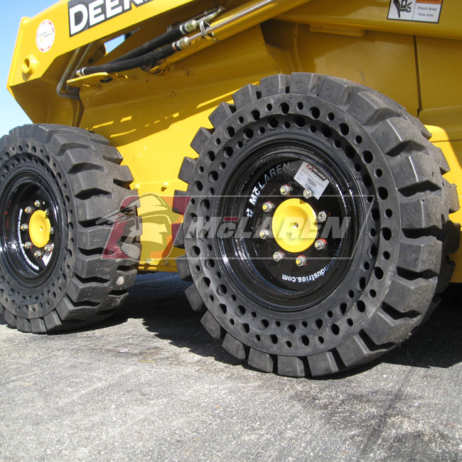 Nu-Air AT Solid Tires with Flat Proof Cushion Technology with Rim for Caterpillar 416 2WD