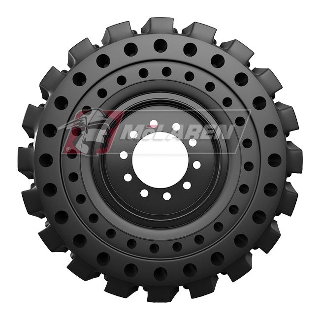 Nu-Air DT Solid Tires with Flat Proof Cushion Technology with Rim for Case 580 SUPER L 4WD