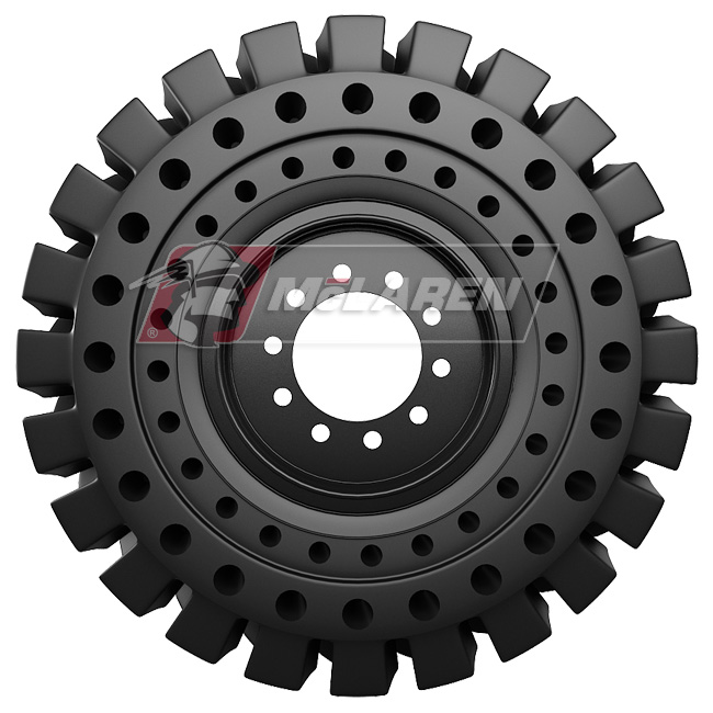 Nu-Air RT Solid Tires with Flat Proof Cushion Technology with Rim for Case 580M SERIES-2 4WD