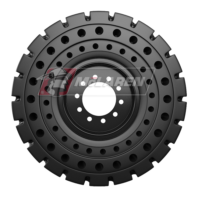 Nu-Air AT Solid Tires with Flat Proof Cushion Technology with Rim for Caterpillar 420 F