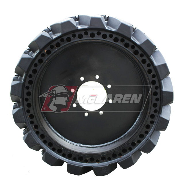 Nu-Air XDT Solid Tires with Flat Proof Cushion Technology with Rim for Case SR 210