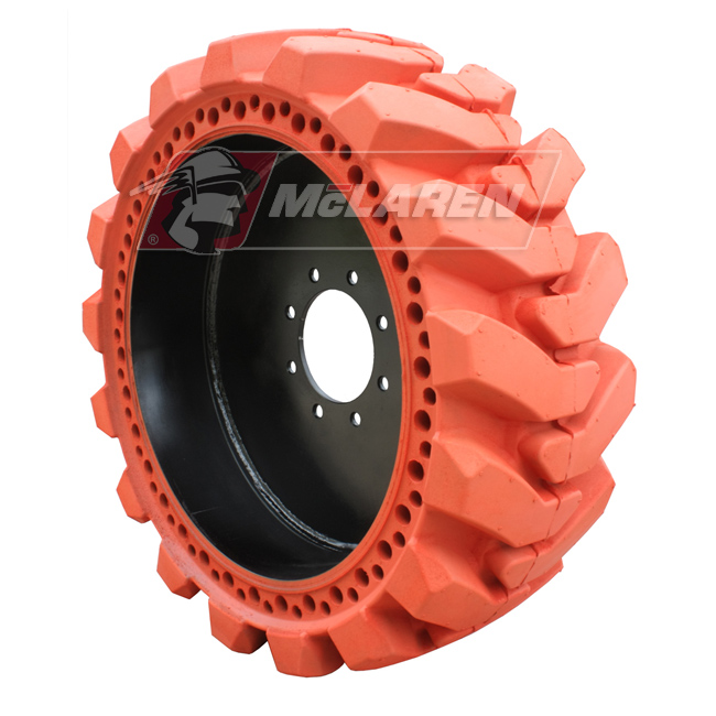 Nu-Air XDT Non-Marking Solid Tires with Flat Proof Cushion Technology with Rim for Case 580L 2WD