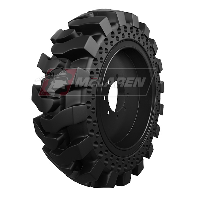 Maximizer Solid Tires with Flat Proof Cushion Technology with Rim for Caterpillar 436 4WD