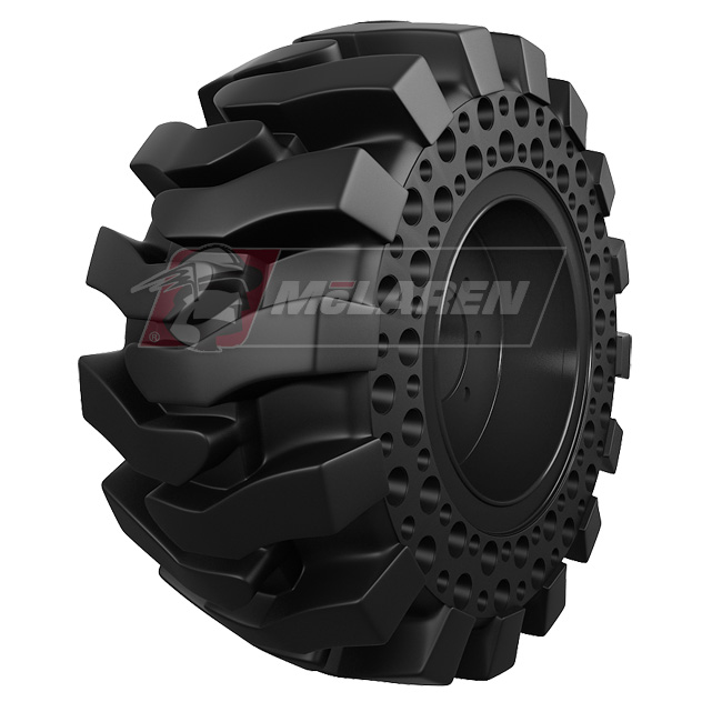 Nu-Air Monster Solid Tires with Flat Proof Cushion Technology with Rim for Case 580M SERIES-3 2WD