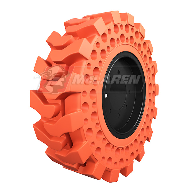 Nu-Air DT Non-Marking Solid Tires with Flat Proof Cushion Technology with Rim for Case 580M SERIES-3 2WD