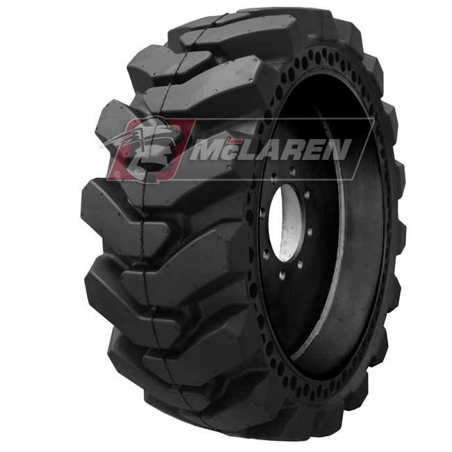 Nu-Air XDT Solid Tires with Flat Proof Cushion Technology with Rim for Case 70XT