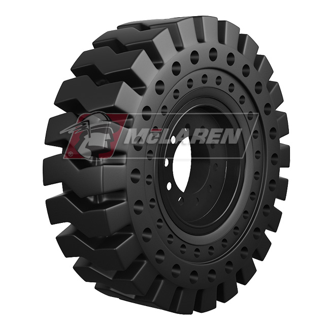Nu-Air RT Solid Tires with Flat Proof Cushion Technology with Rim for Case 580M SERIES-3 2WD