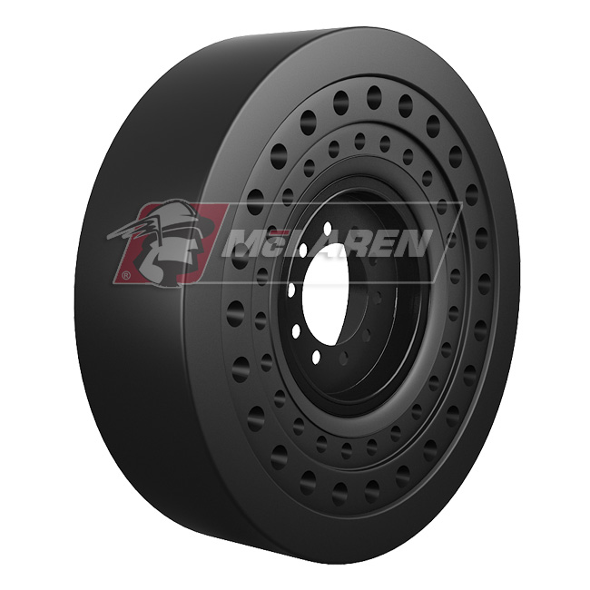 Nu-Air SS Solid Tires with Flat Proof Cushion Technology with Rim for Caterpillar 420 F IT