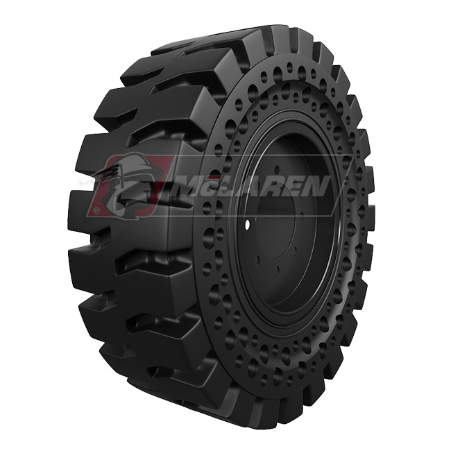 Nu-Air AT Solid Tires with Flat Proof Cushion Technology with Rim for Hidromek 62 SS