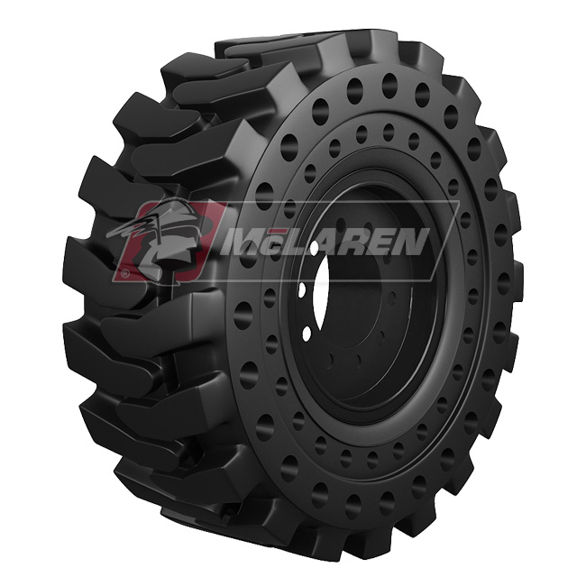 Nu-Air DT Solid Tires with Flat Proof Cushion Technology with Rim for Jcb 4CX SUPER