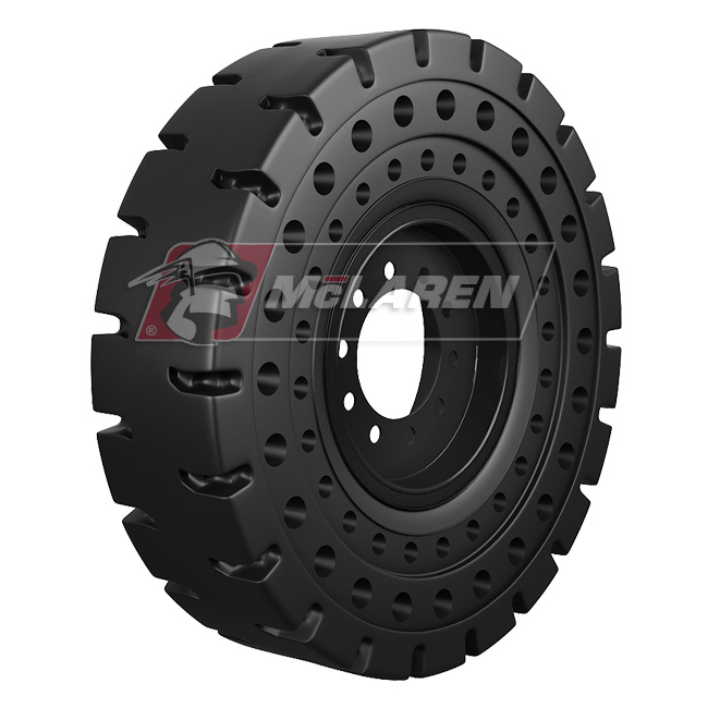 Nu-Air AT Solid Tires with Flat Proof Cushion Technology with Rim for Jcb 535.125 HI-VIZ