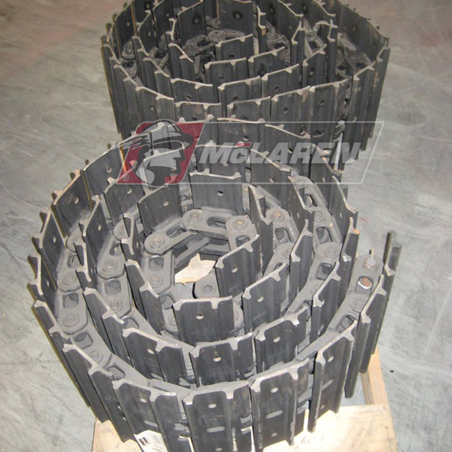 Hybrid steel tracks withouth Rubber Pads for Kubota U 35