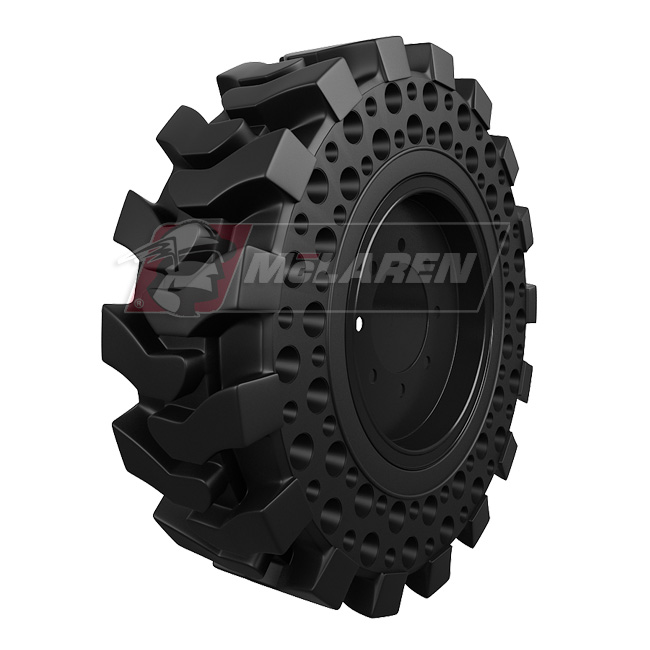 Maximizer Solid Tires with Flat Proof Cushion Technology with Rim for Caterpillar 416E 2WD